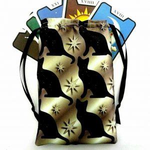 Satin Black Cat & Star Tarot Bag