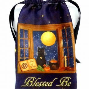Satin Magical Black Cat Tarot Bag