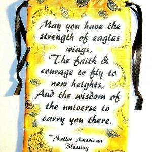 Yellow Satin Native Blessing Tarot Bag